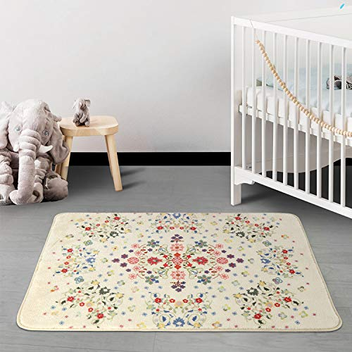 HAOCOO Rustic Floral Area Rugs 2x3 Non Slip Country Style Contemporary Throw Rugs Beige Soft Velvet Small Area Rugs Romantic Floor Carpet For Door Mat Entryway Bedroom Beside Bathroom Laundry Decor 0 3