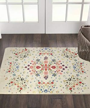 HAOCOO Rustic Floral Area Rugs 2x3 Non Slip Country Style Contemporary Throw Rugs Beige Soft Velvet Small Area Rugs Romantic Floor Carpet For Door Mat Entryway Bedroom Beside Bathroom Laundry Decor 0 300x360
