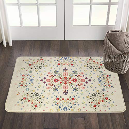 HAOCOO Rustic Floral Area Rugs 2x3 Non Slip Country Style Contemporary Throw Rugs Beige Soft Velvet Small Area Rugs Romantic Floor Carpet For Door Mat Entryway Bedroom Beside Bathroom Laundry Decor 0