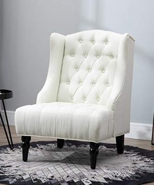 HOMCOM Linen Fabric Button Tufted Tall Wingback Accent Chair With Wooden Legs Beige 0 0 300x360
