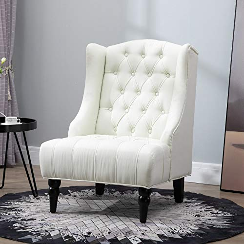 HOMCOM Linen Fabric Button Tufted Tall Wingback Accent Chair With Wooden Legs Beige 0 0