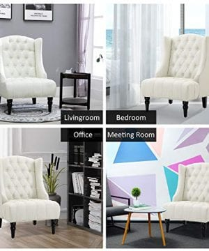 HOMCOM Linen Fabric Button Tufted Tall Wingback Accent Chair With Wooden Legs Beige 0 1 300x360