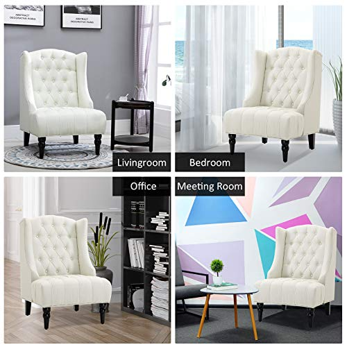 HOMCOM Linen Fabric Button Tufted Tall Wingback Accent Chair With Wooden Legs Beige 0 1