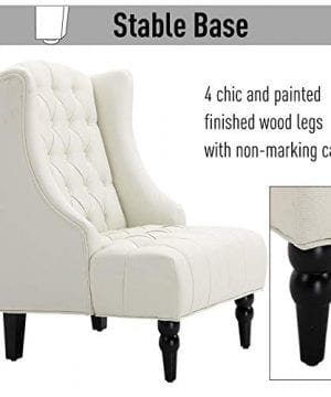 HOMCOM Linen Fabric Button Tufted Tall Wingback Accent Chair With Wooden Legs Beige 0 3 300x360