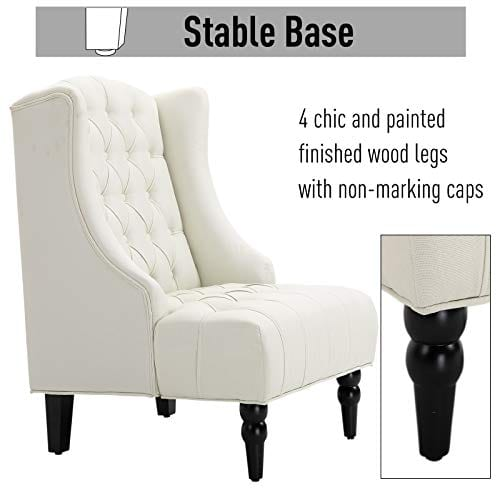 HOMCOM Linen Fabric Button Tufted Tall Wingback Accent Chair With Wooden Legs Beige 0 3
