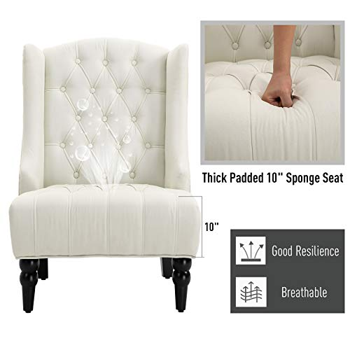 HOMCOM Linen Fabric Button Tufted Tall Wingback Accent Chair With Wooden Legs Beige 0 4