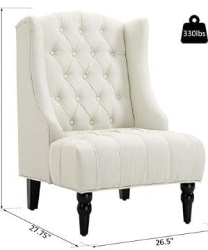 HOMCOM Linen Fabric Button Tufted Tall Wingback Accent Chair With Wooden Legs Beige 0 5 300x360