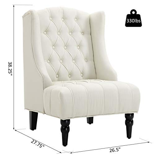 HOMCOM Linen Fabric Button Tufted Tall Wingback Accent Chair With Wooden Legs Beige 0 5