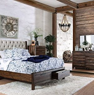 HUTCHINSON New Classic Look Rustic Natural Tone Solid Wood Wingback HB Tufted Upholstered California King Size Bed W Storage Drawers FB Dresser Mirror Nightstand Metal Handles 0 300x306