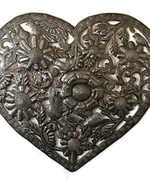 Haitian Metal Heart Wall Decor Floral Decoration Of Love And Friendship Wall Hanging Plaque Peace Handmade In Haiti 18 In X 16 In Floral Heart 0 300x360