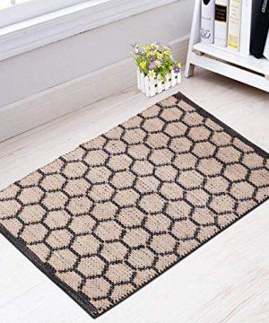 Hand Woven Jute Hemp Cotton Hexagon 2x3 Throw Rug IndoorOutdoor Door Mat Bedroom Entryway Kitchen 24x36 Black 0 300x360