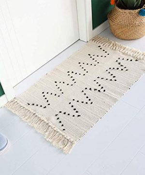 Hand Woven Rug Boho Rug For Bedroom Cotton Small Tassels Area Rug For Kitchen Laundry Bathroom Doorway Beige 2x3 0 0 300x360