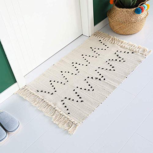 Hand Woven Rug Boho Rug For Bedroom Cotton Small Tassels Area Rug For Kitchen Laundry Bathroom Doorway Beige 2x3 0 0