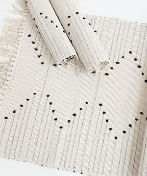 Hand Woven Rug Boho Rug For Bedroom Cotton Small Tassels Area Rug For Kitchen Laundry Bathroom Doorway Beige 2x3 0 2 300x360
