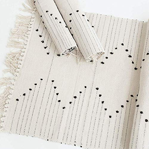 Hand Woven Rug Boho Rug For Bedroom Cotton Small Tassels Area Rug For Kitchen Laundry Bathroom Doorway Beige 2x3 0 2