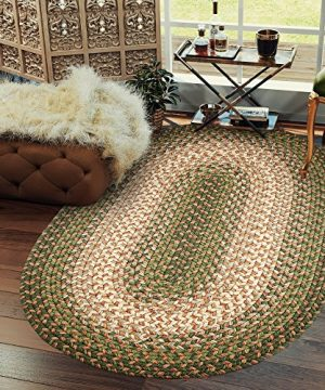 Hartford 2 X 3 Oval Braided Rug IndoorOutdoor Rug Kitchen Rugs In Green SunroomPorch Carpet 0 300x360