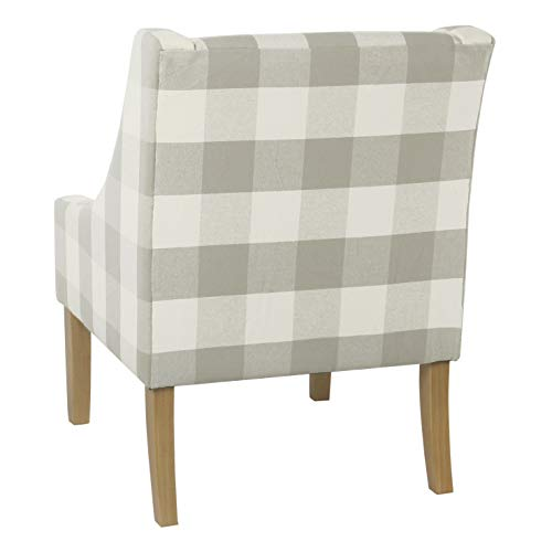 Accent Chair Swoop Wood Siding: HomePop Miller Modern Swoop Arm Accent Chair, Gray Plaid