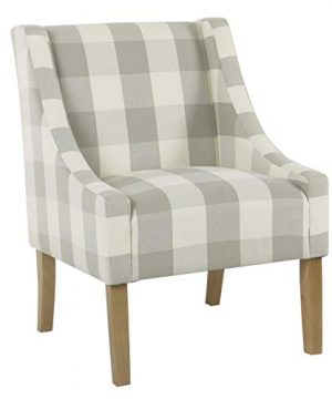 HomePop Miller Modern Swoop Arm Accent Chair Gray Plaid 0 300x360