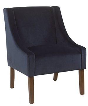 HomePop Miller Modern Swoop Arm Velvet Accent Chair Navy 0 300x360