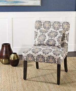 HomePop Parker Accent Chair With Pillow Gray Medallion 0 1 300x360