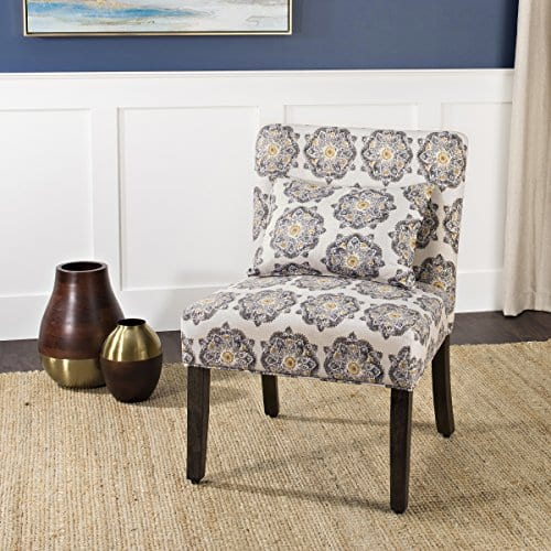 HomePop Parker Accent Chair With Pillow Gray Medallion 0 1