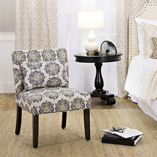 HomePop Parker Accent Chair With Pillow Gray Medallion 0 2