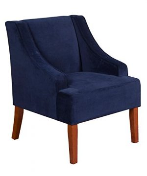 HomePop Velvet Swoop Arm Accent Chair Navy 0 300x360