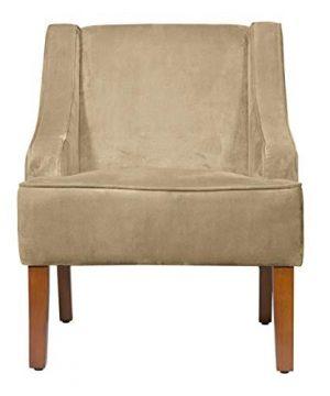 HomePop Velvet Swoop Arm Accent Chair Tan 0 300x360