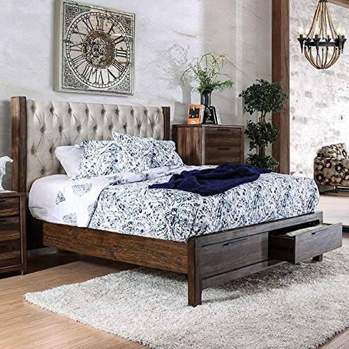 Hutchinson Transitional Style Rustic Natural Tone Finish King Size 6 Piece Bedroom Set 0