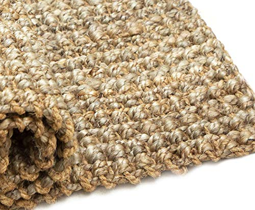 Iron Gate Handspun Jute Area Rug 24x36 Natural Hand Woven By Skilled Artisans 100 Jute Yarns Thick Ribbed Construction Reversible For Double The Wear Rug Pad Recommended 0 1