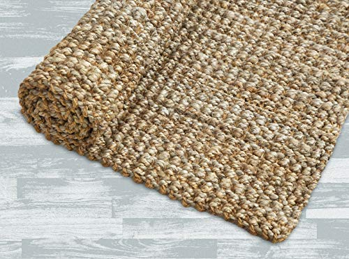 Iron Gate Handspun Jute Area Rug 24x36 Natural Hand Woven By Skilled Artisans 100 Jute Yarns Thick Ribbed Construction Reversible For Double The Wear Rug Pad Recommended 0 3