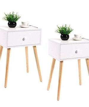 JAXPETY Set Of 2 Bedside Table Solid Wood Legs Nightstand WWhite Storage Drawer 0 300x360