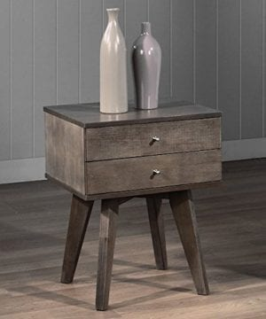 Jones Custom Solid Wood Grey Two Drawer Light Charcoal Nightstand 0 300x360