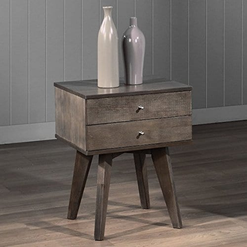 Jones Custom Solid Wood Grey Two Drawer Light Charcoal Nightstand 0