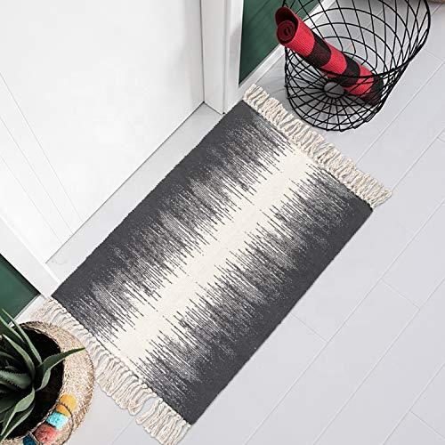 KIMODE Cotton Woven Rug 2 X 3 Farmhouse Gradient Fringe Tassels Throw Rugs Boho Print Door Mat Washable Indoor Floor Rug Runner For Bathroom Kitchen Bedroom Laundry Doorway 0 0