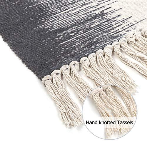 KIMODE Cotton Woven Rug 2 X 3 Farmhouse Gradient Fringe Tassels Throw Rugs Boho Print Door Mat Washable Indoor Floor Rug Runner For Bathroom Kitchen Bedroom Laundry Doorway 0 2
