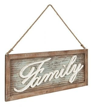 Kate And Laurel Flanders Extra Large Vintage Family Wall Art Hanging Sign Metal With Rustic Brown Wooden Frame And Distressed Ivory Scripted Letters 335 X 14 Inches 0 0 300x360
