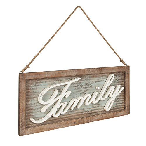 Kate And Laurel Flanders Extra Large Vintage Family Wall Art Hanging Sign Metal With Rustic Brown Wooden Frame And Distressed Ivory Scripted Letters 335 X 14 Inches 0 0