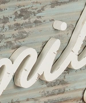 Kate And Laurel Flanders Extra Large Vintage Family Wall Art Hanging Sign Metal With Rustic Brown Wooden Frame And Distressed Ivory Scripted Letters 335 X 14 Inches 0 1 300x360
