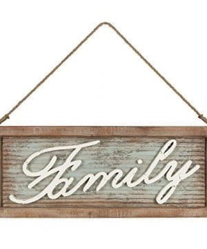 Kate And Laurel Flanders Extra Large Vintage Family Wall Art Hanging Sign Metal With Rustic Brown Wooden Frame And Distressed Ivory Scripted Letters 335 X 14 Inches 0 300x360