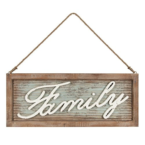 Kate And Laurel Flanders Extra Large Vintage Family Wall Art Hanging Sign Metal With Rustic Brown Wooden Frame And Distressed Ivory Scripted Letters 335 X 14 Inches 0