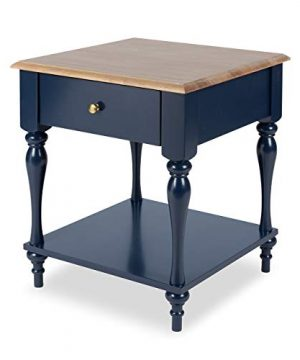 Kate And Laurel Sophia Rustic Wood Top Nightstand Side Table With Drawer And Shelf Navy Blue 0 300x360