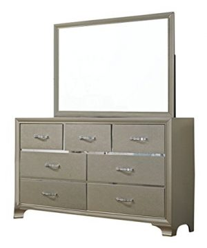 Kings Brand Furniture 6 Piece Champagne Finish With Upholstered Headboard King Size Bedroom Set Bed Dresser Mirror Chest 2 Night Stands 0 1 300x360