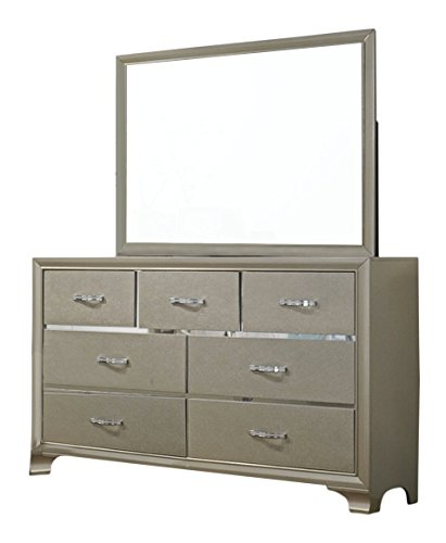 Kings Brand Furniture 6 Piece Champagne Finish With Upholstered Headboard King Size Bedroom Set Bed Dresser Mirror Chest 2 Night Stands 0 1