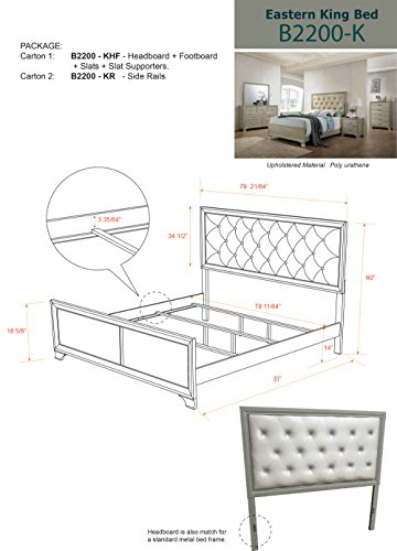 Kings Brand Furniture 6 Piece Champagne Finish With Upholstered Headboard King Size Bedroom Set Bed Dresser Mirror Chest 2 Night Stands 0 2