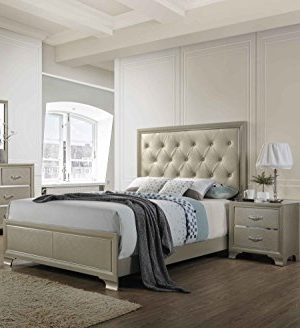 Kings Brand Furniture 6 Piece Champagne Finish With Upholstered Headboard King Size Bedroom Set Bed Dresser Mirror Chest 2 Night Stands 0 300x328