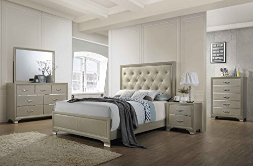 Kings Brand Furniture 6 Piece Champagne Finish With Upholstered Headboard King Size Bedroom Set Bed Dresser Mirror Chest 2 Night Stands 0