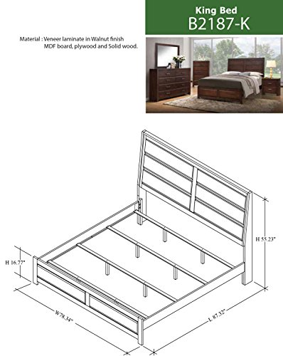 Kings Brand Furniture Aurora 6 Piece Walnut Wood King Size Bedroom Set Bed Dresser Mirror Chest 2 Nightstands 0 0