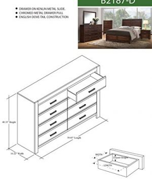 Kings Brand Furniture Aurora 6 Piece Walnut Wood King Size Bedroom Set Bed Dresser Mirror Chest 2 Nightstands 0 1 300x360