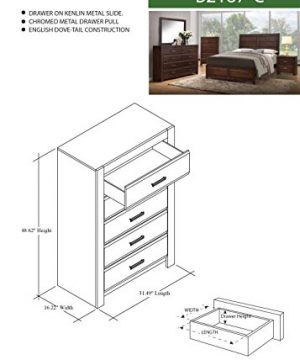 Kings Brand Furniture Aurora 6 Piece Walnut Wood King Size Bedroom Set Bed Dresser Mirror Chest 2 Nightstands 0 3 300x360
